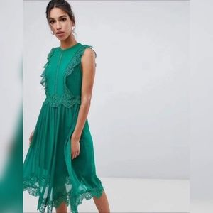 Ted Baker London Green Frill Lace Midi Dress